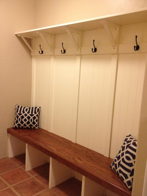 RC Handyman Services - Mud Room, built in oak bench w/shelf and hooks