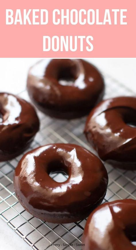 Moist and fluffy baked chocolate donuts full of chocolate flavor. Covered in a thick, chocolate glaze, these are perfect for any chocoholic. Chocolate Donut Frosting, Chocolate Donuts, Chocolate Glaze, Decadent Chocolate, Chocolate Recipes, Chocolate Covered, Easy Donut Recipe, Baked Donut Recipes, Baking Recipes