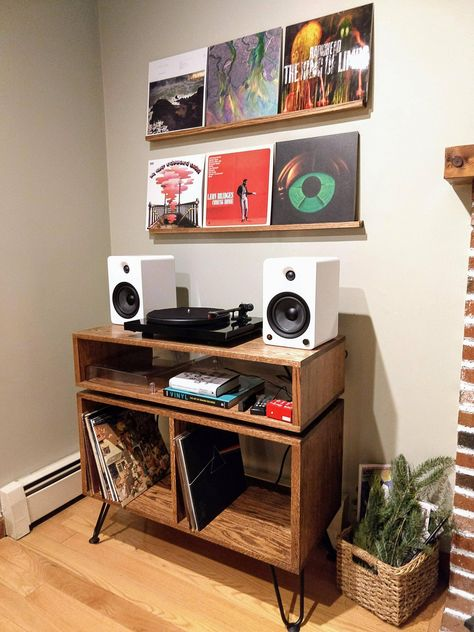 Record Table And Shelves For My New Vinyl Setup : Woodworking on Home Shelves Ideas 9590 Record Table, Vinyl Record Display, Vinyl Record Storage, Vinyl Record Cabinet, Record Player Console, Record Shelf, Record Stand, Record Players, Vinyl Records