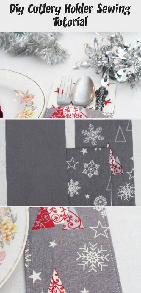Dress up your pretty holiday cutlery even more with these adorable pockets. Making a DIY cutlery holder with fabric could not get any easier and these Christmas cutlery holders definitely have to be on your table!  #easypeasycreativeideas #christmas #christmasgifts #christmasdecor #christmascrafts #sewingforbeginners #christmassewing #sewing #sewingprojects #sewingpatterns #sewingtutorials #HarryPottersewingprojects #sewingprojectsClothes #sewingprojectsForBeginners #Summersewingprojects #Beginn