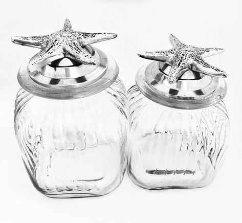 Starfish White Ceramic Canister Jar Hamptons Coastal Home Decor