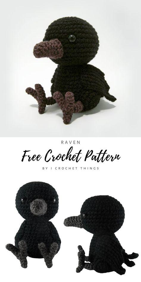 Crochet Bird Patterns, Halloween Crochet Patterns, Crochet Birds, Free Crochet, Crochet Patterns Amigurumi, Knit Or Crochet, Crochet Animals, Crochet Crafts, Crochet Dolls