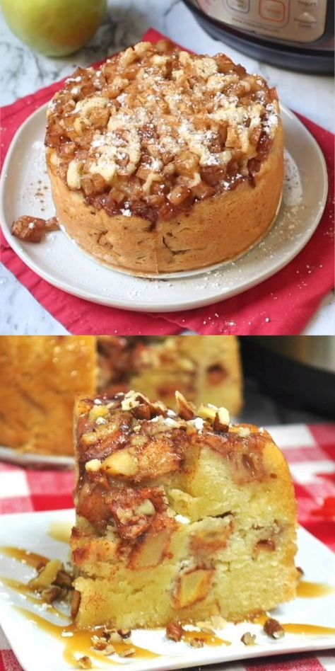 Four layers of moist cake and juicy apples in every bite! Easy recipe to make apple cake in the Instant Pot - perfect fall dessert (or for anytime!) #dessert #applecinnamon #apples #cake #IP #instantpot