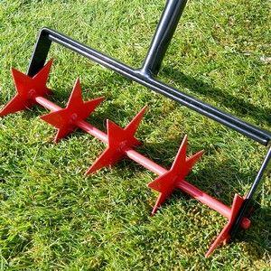 Oypla Heavy Duty Hand Held Push Along Garden Lawn Aerator c//w Spikes