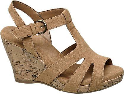 Keil Sandalette von Graceland in braun | w