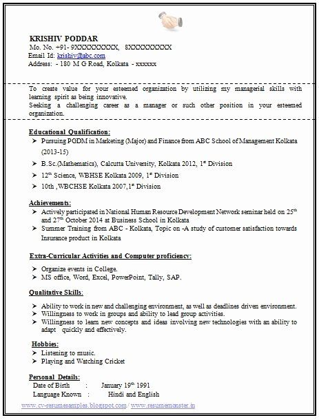 Objective For Resume For Freshers Beautiful 100 Resume Format For Experienced Samp Resume Format For Freshers Resume Format Download Professional Resume Format