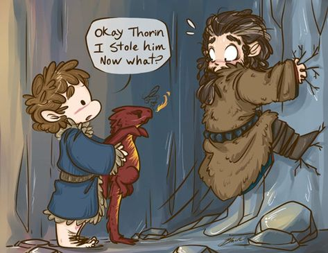 Bilbo Baggins, Chibi Smaug and Thorin Oakenshield - Fanart print - The Hobbit sold by BlacksSideshow. Shop more products from BlacksSideshow on Storenvy, the home of independent small businesses all over the world. Thorin Oakenshield, Bilbo Baggins, Hobbit Bilbo, Lotr, Hobbit Funny, Hobbit Humor, Hobbit Art, Gandalf, Legolas