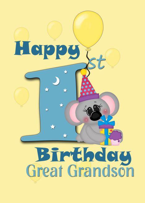 Great Grandson Happy 1st Birthday Koala Bear Card Ad Sponsored Happy St Great Grandson Happy 1st Birthdays Bear Card Happy First Birthday