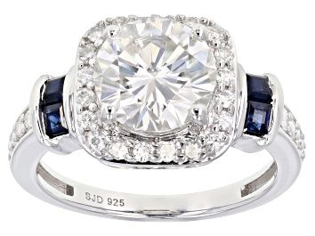 Moissanite And Blue Sapphire Platineve Ring 3 02ctw Dew Mos267 In 2020 Moissanite Jewelry White Gold Rings Fire Jewelry