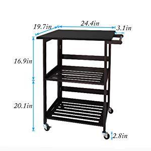 Dlandhome Folding Kitchen Island Cart Kitchen Storage 3 Tier