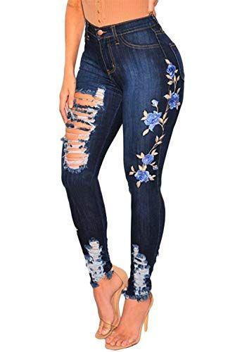 Haidean Pantalones Vaqueros Delgados De Mezclilla De Pantalones Mezclilla Con Modernas Casual Agujeros Jeans De Moda Pantalones De Moda Pantalones De Mezclilla