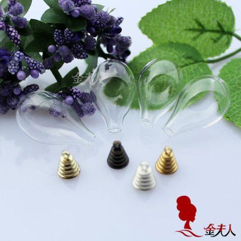 1pc 31X18MM rotondo fondo Tear Drop con tappo metallico, anello di ottone bottiglia adatta UFT bottiglia di vetro, collana del globo di vetro, collana di botanica