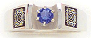 SALE - Delicately engraved Ladies Auxiliary Emblem adorns each side of our sterling silver sapphire rings.  Stone is set in a recessed tiffany setting. Also available with ruby or topaz. Was $115, now $80.50!