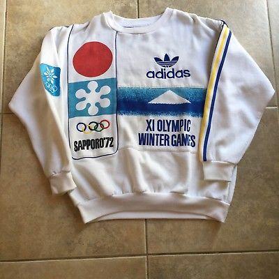 Details about Vintage 80s Adidas Stockholm 1956 Helsinki 1952 Sweatshirt size (L) Olympics