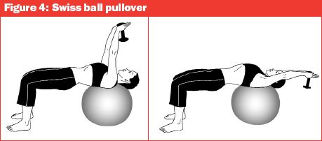 Bent Arm Pullovers ball Dumbbell One Arm Pullover on Exercise Ball ...