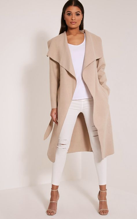 The Veronica Beige Oversized Waterfall Coat. Head online and shop this season's range of coats & jackets at PrettyLittleThing.
