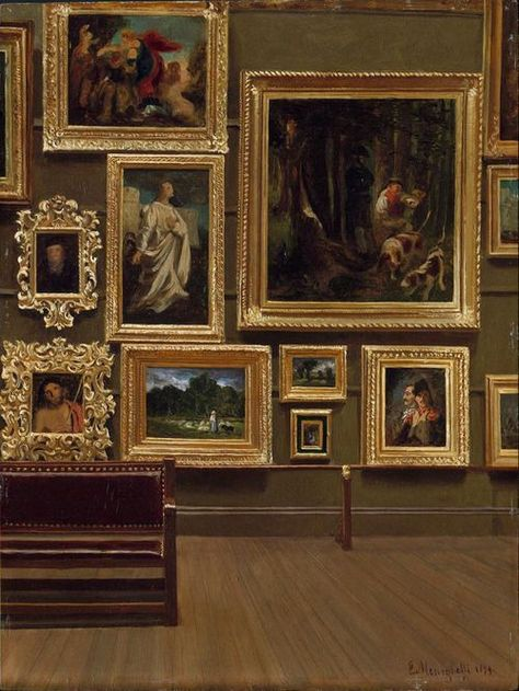 Enrico Meneghelli 'Picture Gallery in the Old Museum' 1879 Picture Gallery in the Old Museum by Enrico Meneghelli, 1879 photo by Plum leaves Brown Aesthetic, Aesthetic Art, Aesthetic Pictures, Aesthetic Painting, Paradis Sombre, Ravenclaw, Wall Collage, Aesthetic Wallpapers, Light In The Dark