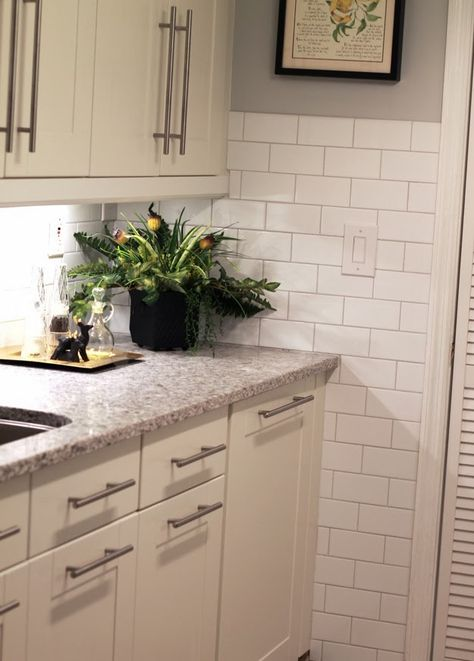 Atlantic Salt Quartz Countertop Option With White Cabinets