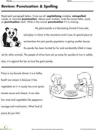 Punctuation And Spelling Worksheets