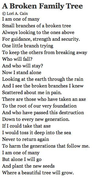 Always remember...however broken the family bonds/tree before you, you have the power to start anew.