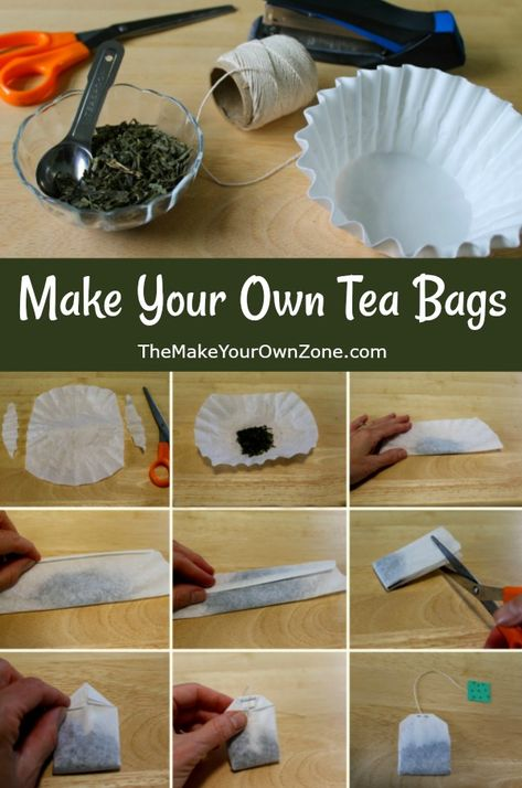 How To Make Your Own Tea Bags - Easy tutorial using coffee filters and loose tea. Perfect as homemade gifts too! How To Make Your Own Tea Bags - Easy tutorial using coffee filters and loose tea. Perfect as homemade gifts too! How To Make Tea, Make Your Own, Make It Yourself, The Make, Homemade Tea, Homemade Gifts, Homemade Things, Diy Tea Bags, Uses For Tea Bags