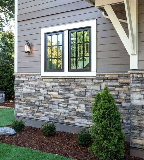 Faux Stone Siding Panels Modern Exterior Design Ideas Gray Sidingstone Sidingfaux Fake Brick Pa House Paint Exterior Window Trim Exterior Exterior House Colors