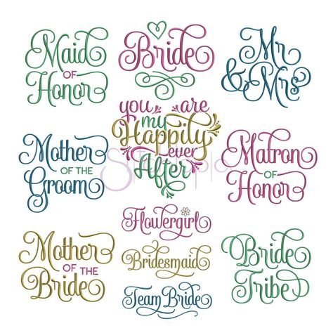 This is a machine embroidery design set that is perfect for brides by Stitchtopia. Great for any wedding project. Available in 10 formats!