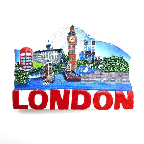 Throughout the history, London has accumulated a number of landmarks such as Double Decker Bus, Big Ben, the Red Telephone Booth, and more.Bring home these refrigerator magnet now! Country : England Dimensions : 3''L x 2.25''H Material : resin, magnet Premium quality & design Perfect gift for souvenir magnet collectors and travelers