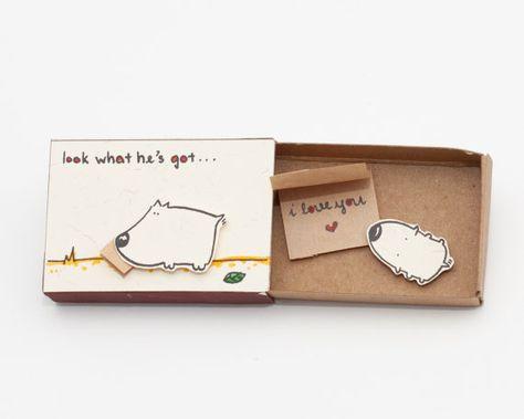 Anniversaire carte amour carte Matchbox Je t'aime / par shop3xu