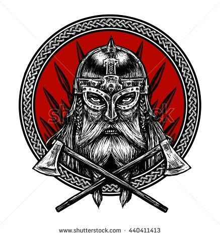 Ancient Viking Head In A Ring With Scandinavian Ornament Logo For Mascot Design Graphic Illustration The Ax A Sword A Viking Art Vikings Ancient Vikings