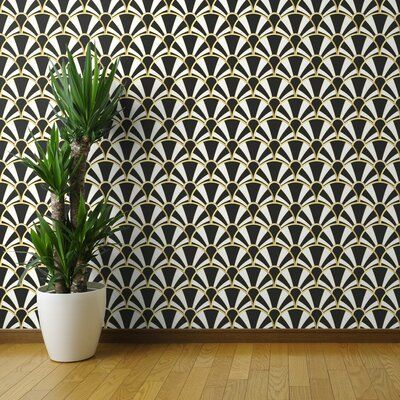 Mercer41 Oroville Removable Wallpaper Art Deco Fan In Black White And Gold 1920s Art Smooth Te Wallpaper Roll Peel And Stick Wallpaper Brick Wallpaper Wallpaper Panels Removable Wallpaper Wallpaper Roll
