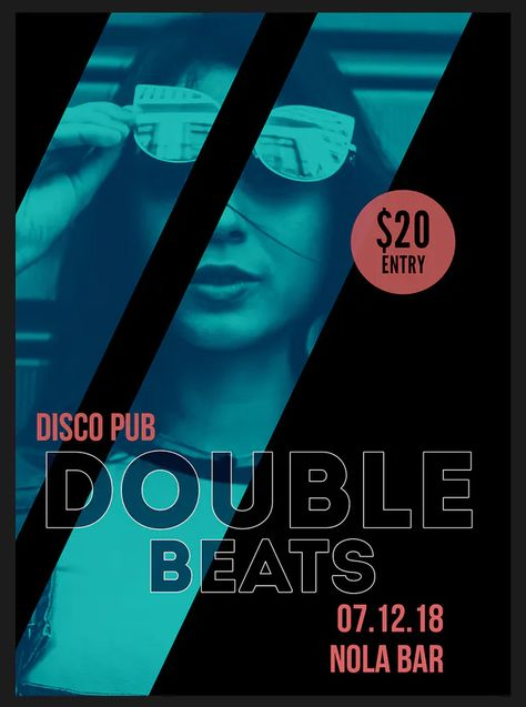 Double Beats Flyer Poster Template PSD