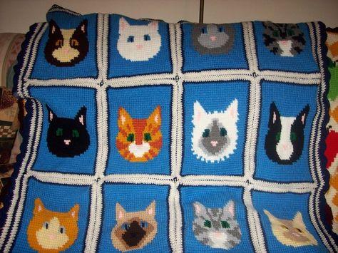 Free crochet cat afghan pattern | 355x474