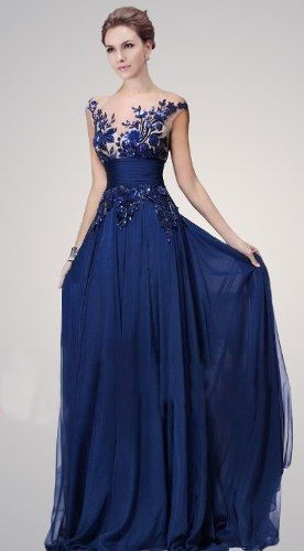 Modelos de vestidos azules largos