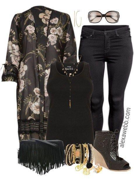 Plus Size Kimono Duster Outfit | Stylish plus size clothing