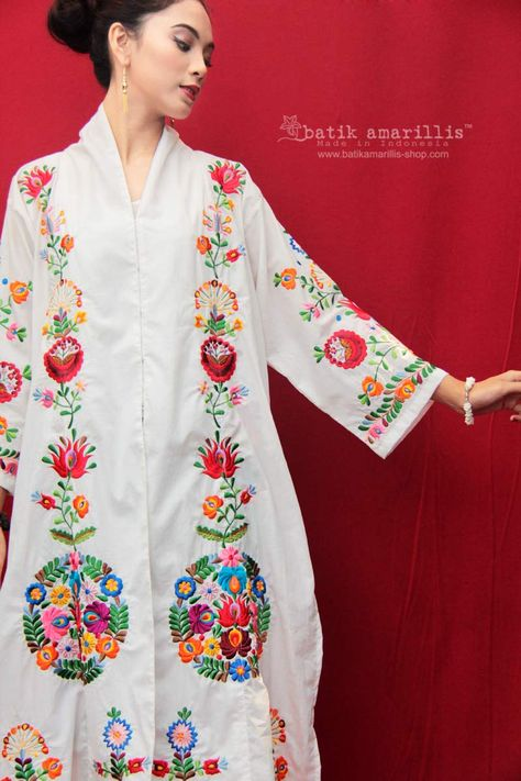 Batik Amarillis made in Indonesia proudly presents : Batik Amarillis's ... Nan Aluih blouse , this beautiful combo of Javanese Kebaya and Minang's Baju Kuruang inspired is yet elegant and comfy which also features a Hungarian embroidery inspired
