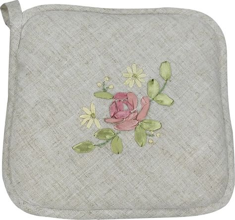 Xia Home Fashions Ribbon Embroidery Rose Pot Holder (Set of 4)