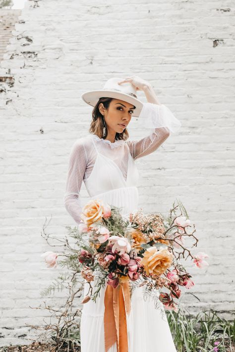 White Hat Boho Bride Cool Bride Boho Dresses Boho Wedding