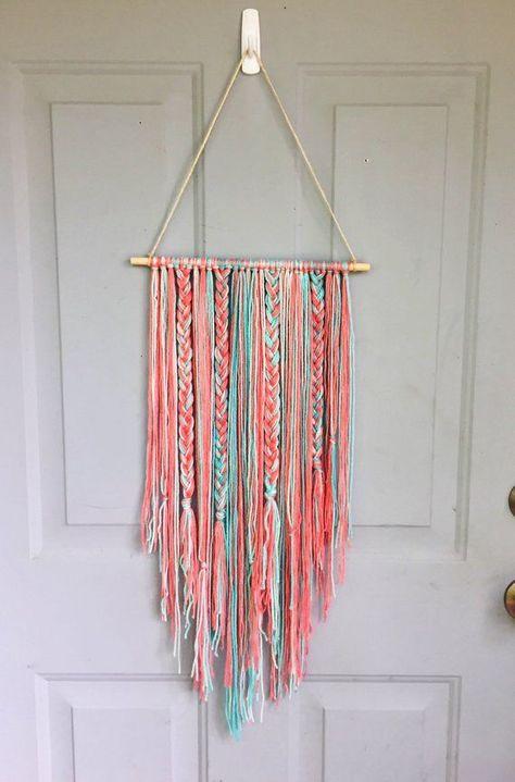 Boho Wall Hanging, Bow holder, Yarn Wall Hanging, Nursery Decor, Wall Decor, Hanging Bow Holder, Bab