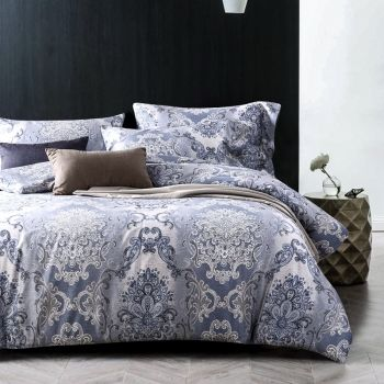 Bohemian Baroque Style Navy Blue Gray And White Victorian Pattern Vintage Tribal Print Luxu Bed Linens Luxury Luxury Bedding Master Bedroom Luxury Bedding Sets
