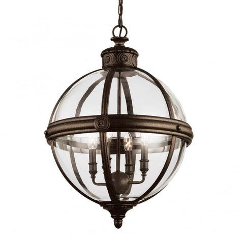 Feiss Adams Victorian Pendant Globe Light Chandelier, 3 Bulb