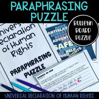 Universal Declaration Of Human Rights Udhr Paraphrasing Puzzle Vocabulary Declaration Of Human Rights Paraphrasing Activities Vocabulary Activities