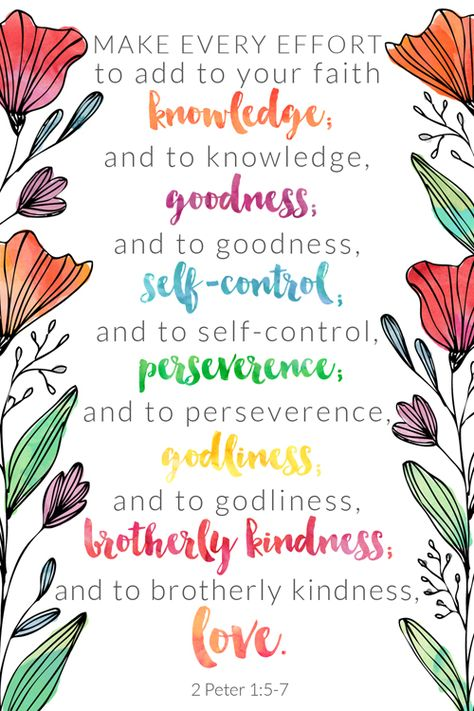 2 Peter 1:5-7 Free Printable