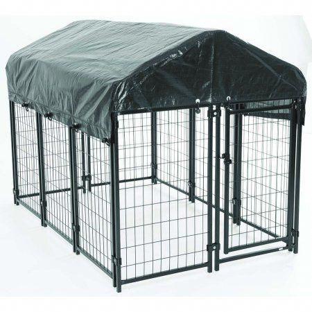 American Kennel Club Heavy Duty Outdoor Dog Kennel Black 4 L X 6 W X 4 5 H Walmart Com Wire Dog Kennel Dog Kennel Outdoor Dog Kennel Cover