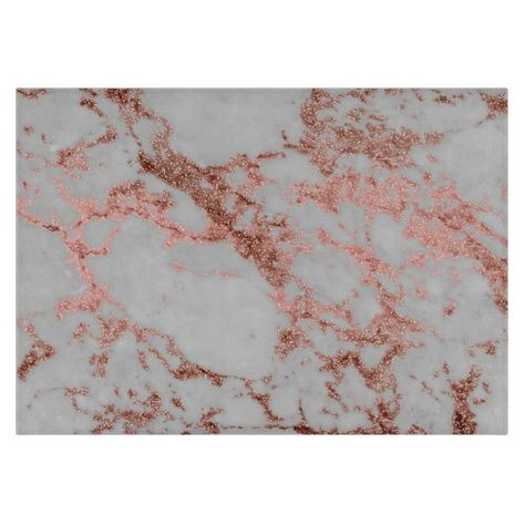 Modern faux rose gold glitter marble texture image cutting board
