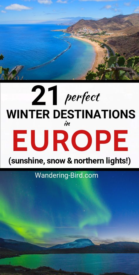 Looking for the best European destinations to visit in Winter? Do you want a winter city break with sunshine, snow or a chance to see the Northern Lights??! These are the BEST cities in Europe to spend your vacation. Places to visit in Europe in Winter| Europe Travel | Europe Travel Destinations |  Winter in Europe | Places to see in Europe | Europe city Breaks | Europe Bucket List | Europe Destinations | Europe Winter Destinations #europetravel #europetraveltips #traveldestinations