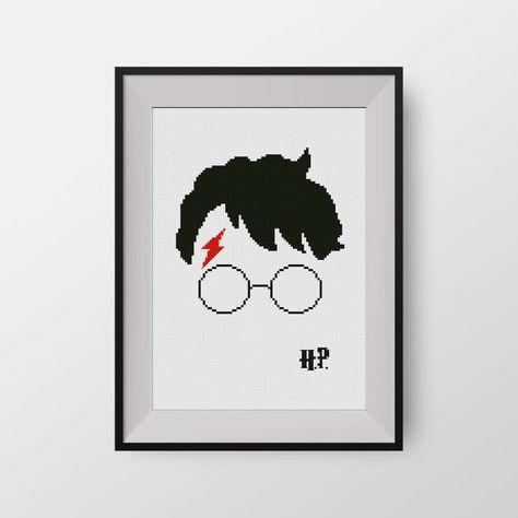 Harry Potter  -  PDF counted cross stitch pattern - Hogwarts - Glasses of Harry Potter, P075