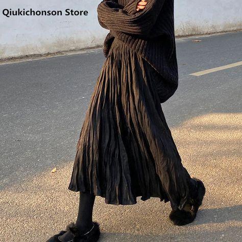 15.89US $ 30% OFF|2020 Autumn Winter Wrinkled Black Pleated Skirt Women Korean Style Casual High Waisted A Line Long Skirts Midi falda plisada|Skirts|   - AliExpress