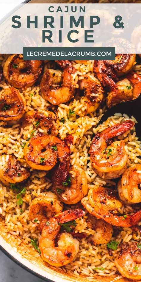 cajun cooking This Cajun Shrimp and Rice Skillet is a one-pot wonder full of flavorful shrimp and rice with a Cajun seasoning that the entire family will enjoy! Shrimp Recipes For Dinner, Shrimp Recipes Easy, Seafood Dinner, Fish Recipes, Easy Dinner Recipes, Easy Meals, Shrimp Rice Recipe Easy, Mexican Shrimp Recipes, Recipies