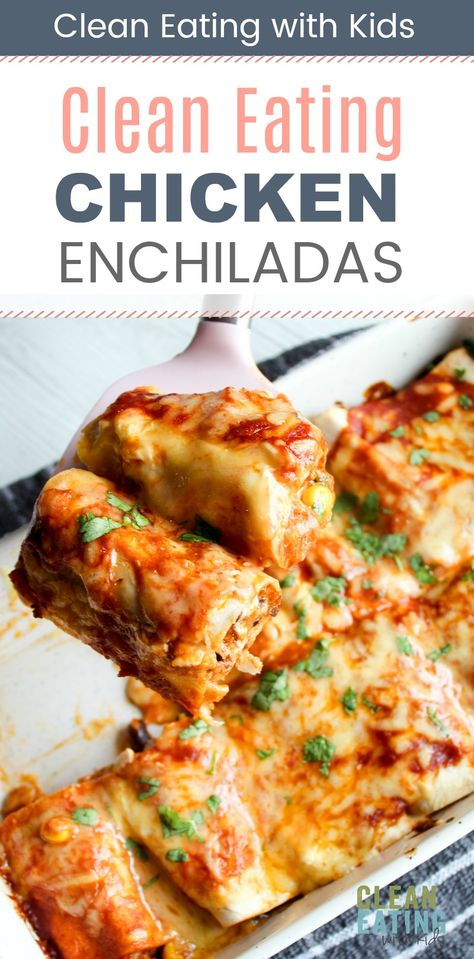 Chicken Enchiladas - Clean Eating with kids My kids go crazy for these! Healthy chicken enchiladas with black beans and corn.My kids go crazy for these! Healthy chicken enchiladas with black beans and corn. Clean Eating Chicken, Clean Eating Recipes For Dinner, Clean Eating Snacks, Healthy Dinner Recipes, Mexican Food Recipes, Clean Lunches, Kid Lunches, Kid Snacks, Lunch Snacks